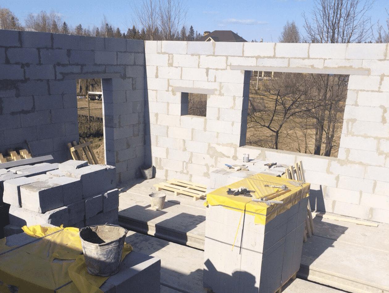 Выполнение стен из газоблока Теплит