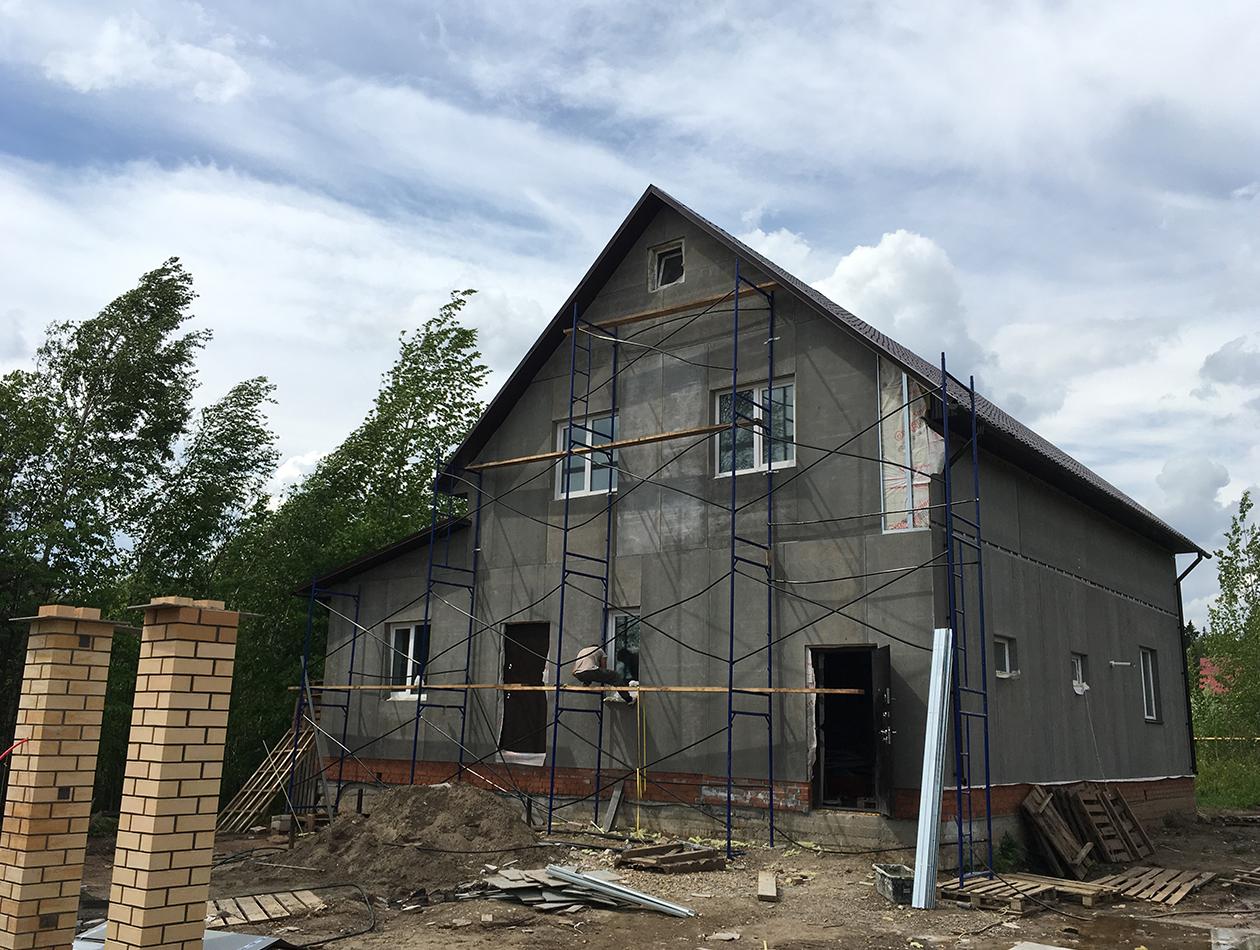 Монтаж фасада дома из ЦСП