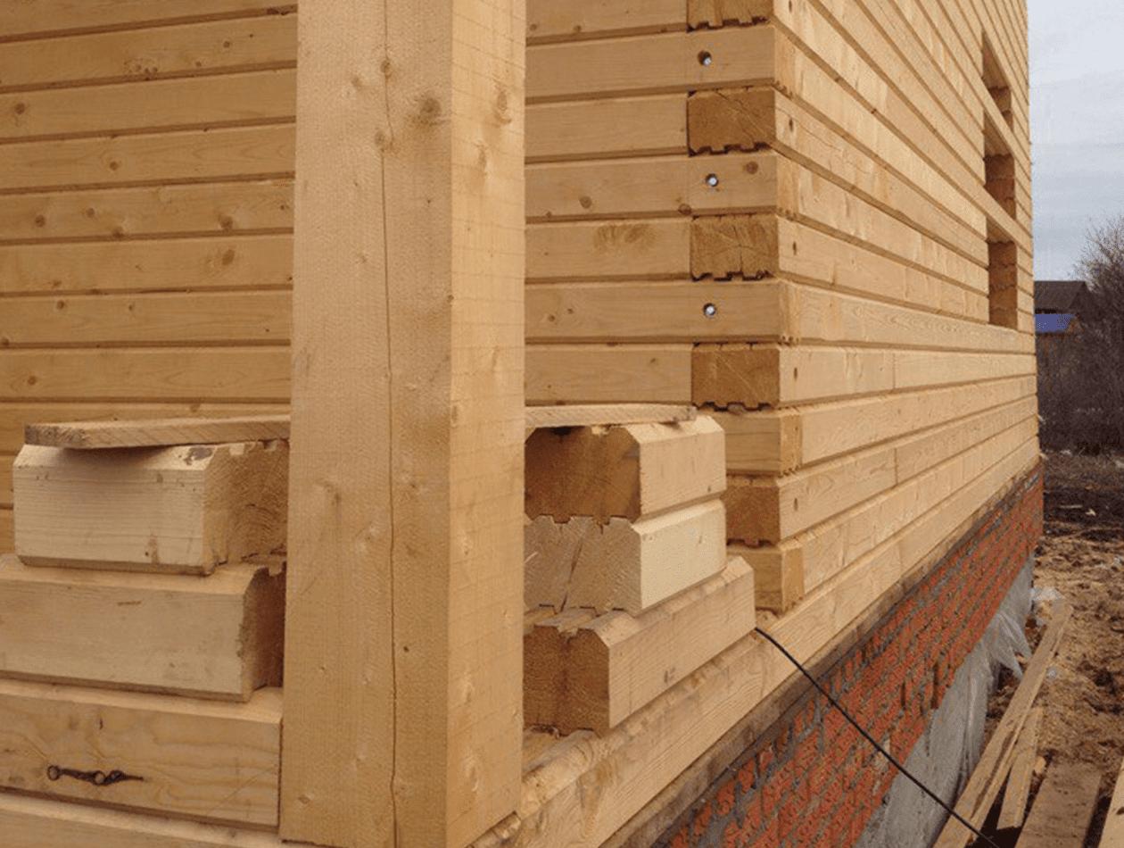 Угловой узел соединения дома из профилированного бруса