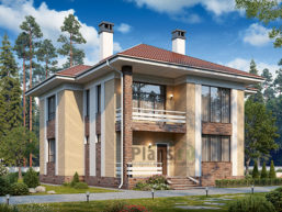Проект кирпичного дома 44-82